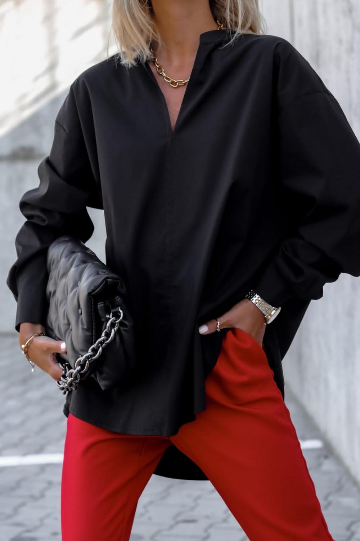 Czarna długa koszula oversize V-Neck Aria 1