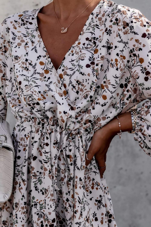 Beżowa sukienka kwiatowa rozkloszowana V-Neck Layla 6