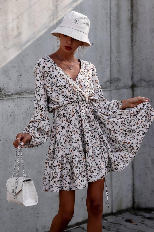 Beżowa sukienka kwiatowa rozkloszowana V-Neck Layla 3