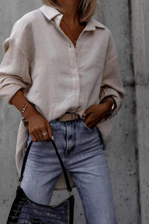 Beżowa rozpinana muślinowa koszula oversize Emily 1