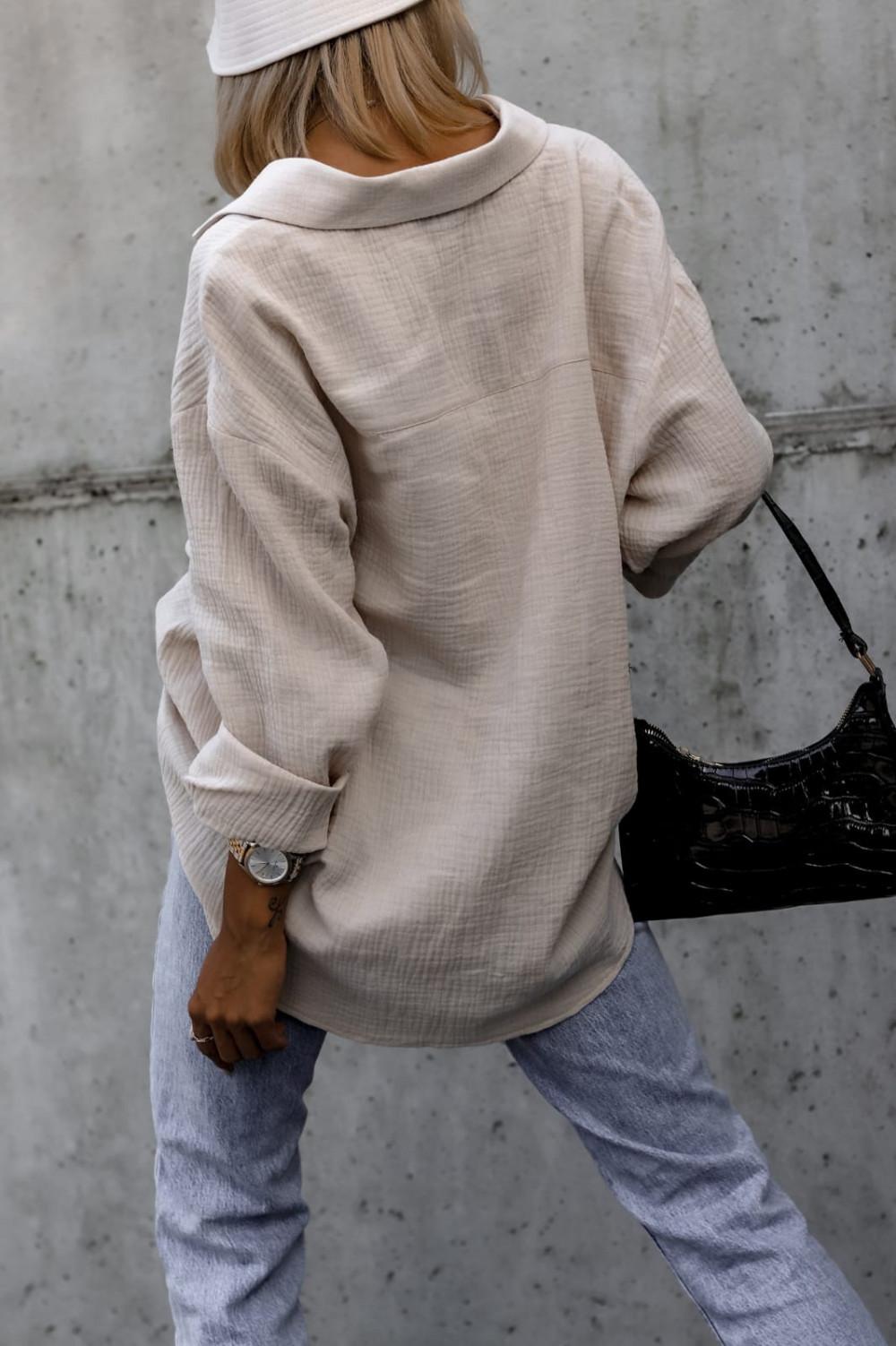 Beżowa rozpinana muślinowa koszula oversize Emily 3