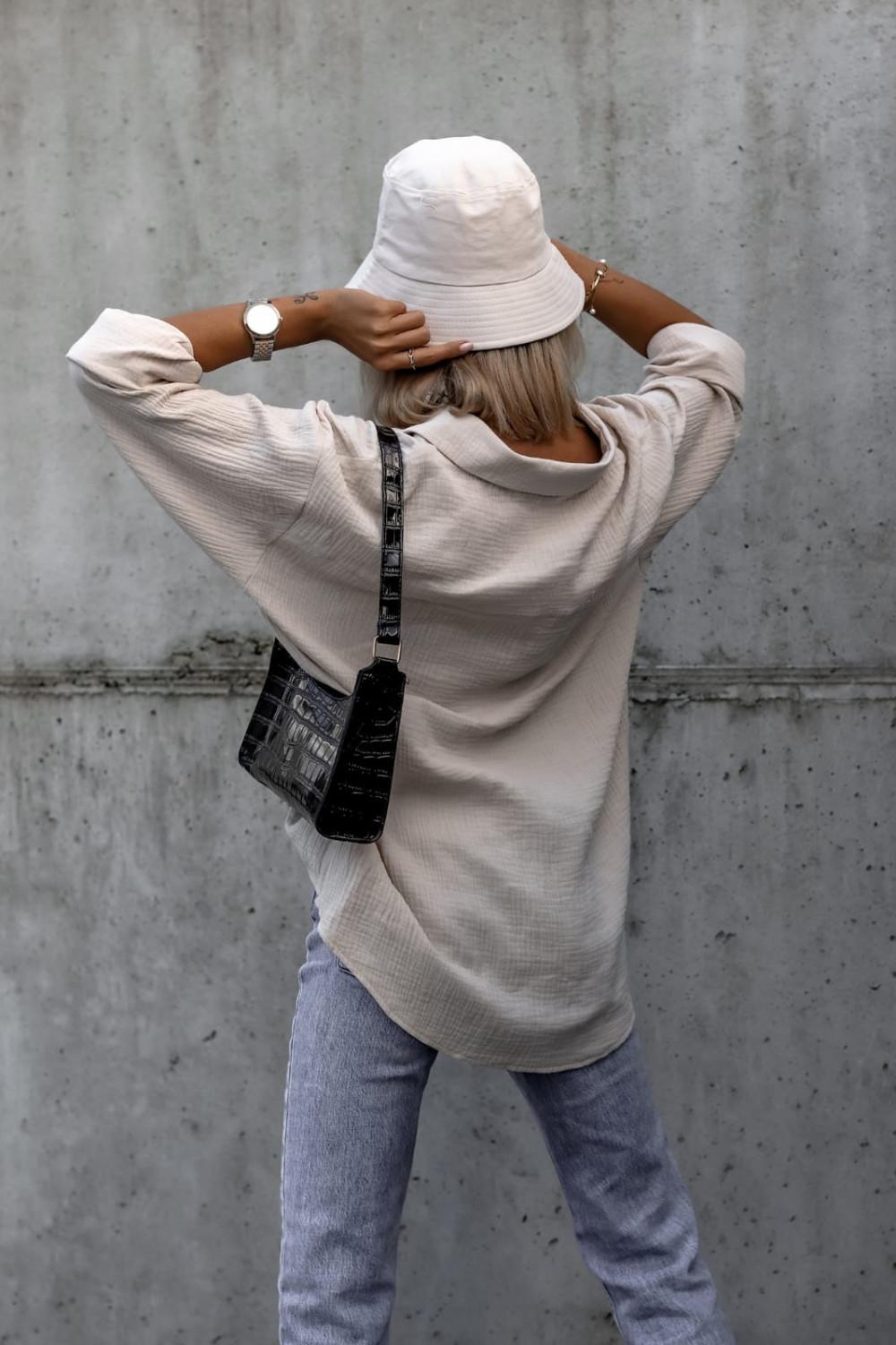 Beżowa rozpinana muślinowa koszula oversize Emily 4