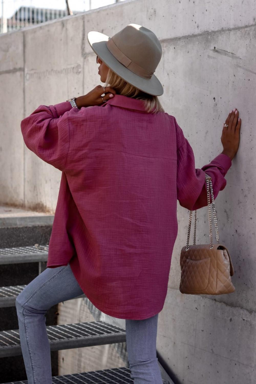 Fuksjowa rozpinana muślinowa koszula oversize Emily 4