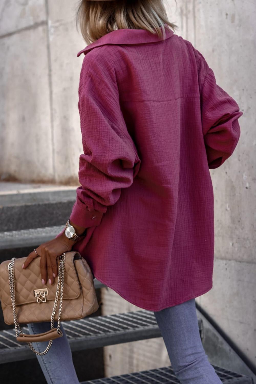 Fuksjowa rozpinana muślinowa koszula oversize Emily 5