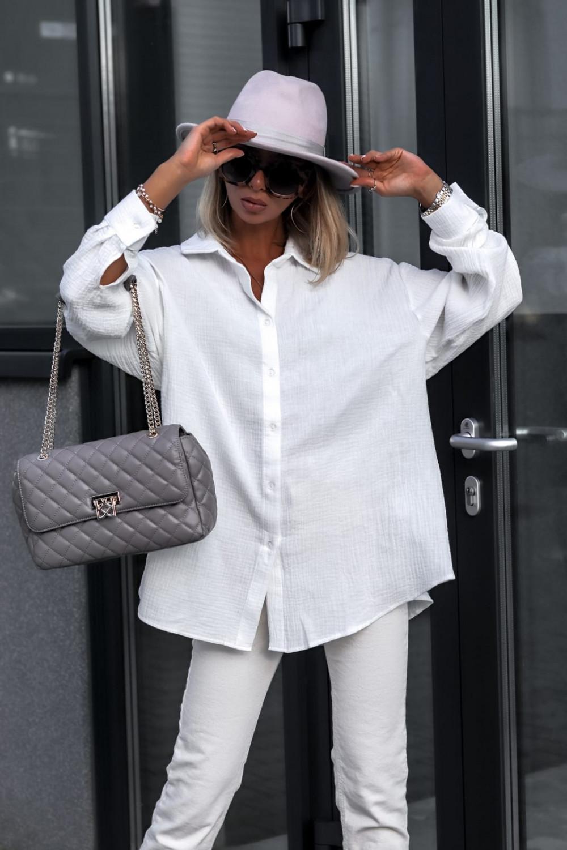 Biała rozpinana muślinowa koszula oversize Emily 3