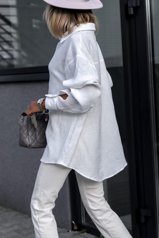Biała rozpinana muślinowa koszula oversize Emily 4