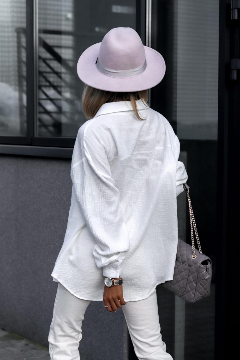 Biała rozpinana muślinowa koszula oversize Emily 5