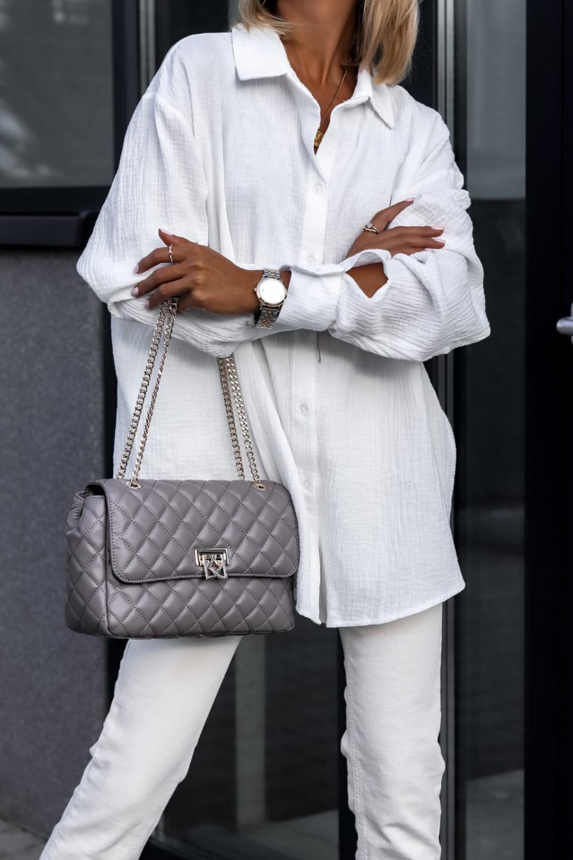 Biała rozpinana muślinowa koszula oversize Emily 1