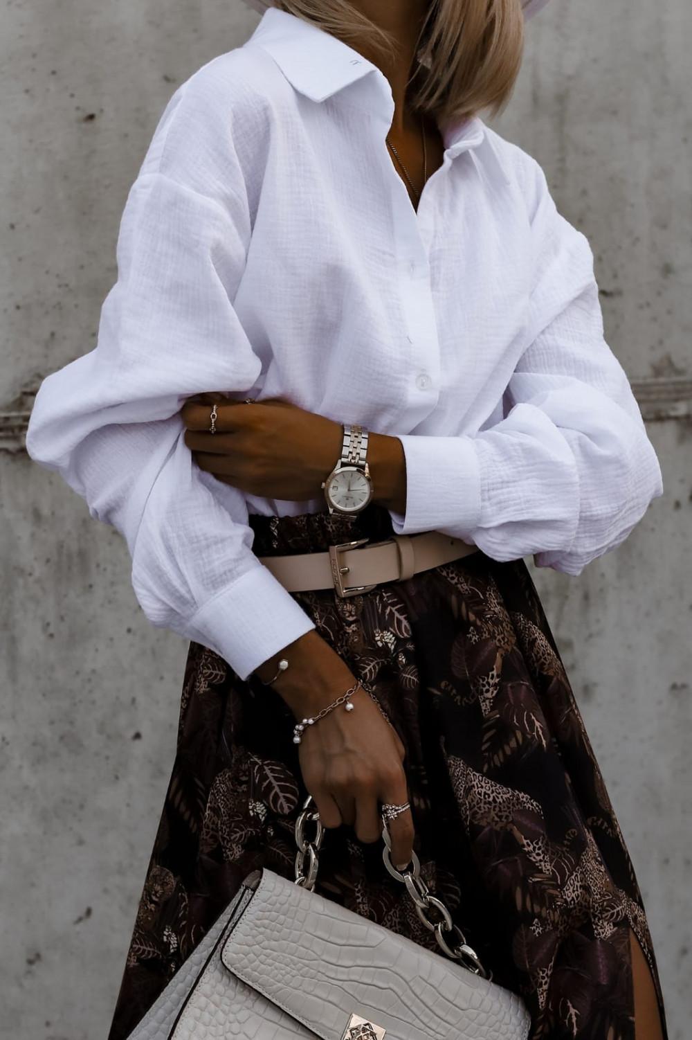 Biała rozpinana muślinowa koszula oversize Emily 6