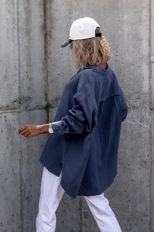 Niebieska muślinowa koszula oversize V-Neck Zoe 3