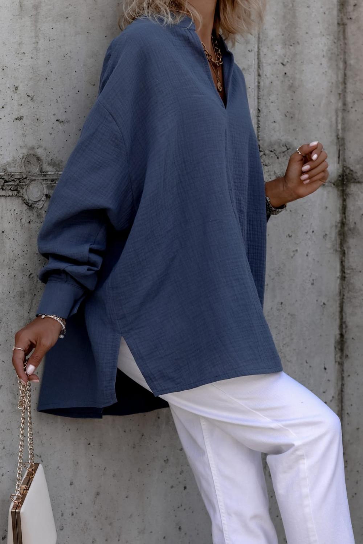 Niebieska muślinowa koszula oversize V-Neck Zoe 4