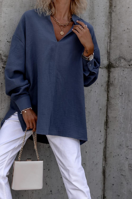 Niebieska muślinowa koszula oversize V-Neck Zoe 5