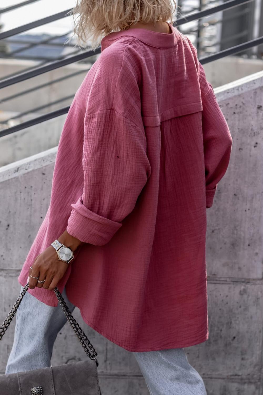 Różowa muślinowa koszula oversize V-Neck Zoe 3