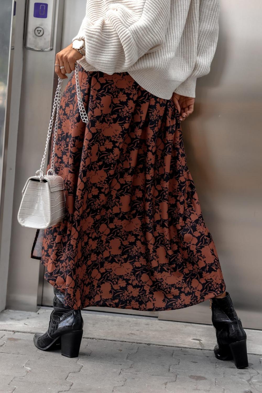 Brązowo-czarna spódniczka z rozcięciem midi w kwiaty Sammy 4