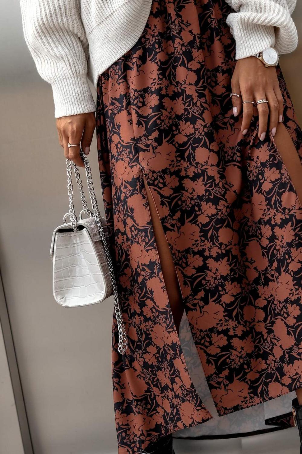 Brązowo-czarna spódniczka z rozcięciem midi w kwiaty Sammy 2