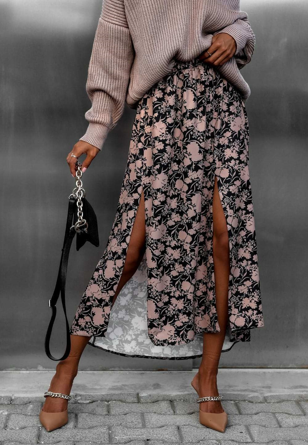 Czarno-beżowa spódniczka z rozcięciem midi w kwiaty Sammy 1