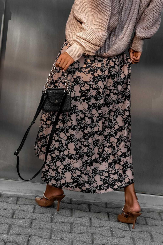 Czarno-beżowa spódniczka z rozcięciem midi w kwiaty Sammy 4