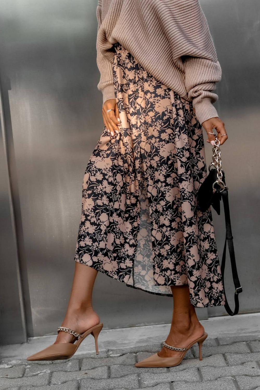 Czarno-beżowa spódniczka z rozcięciem midi w kwiaty Sammy 3