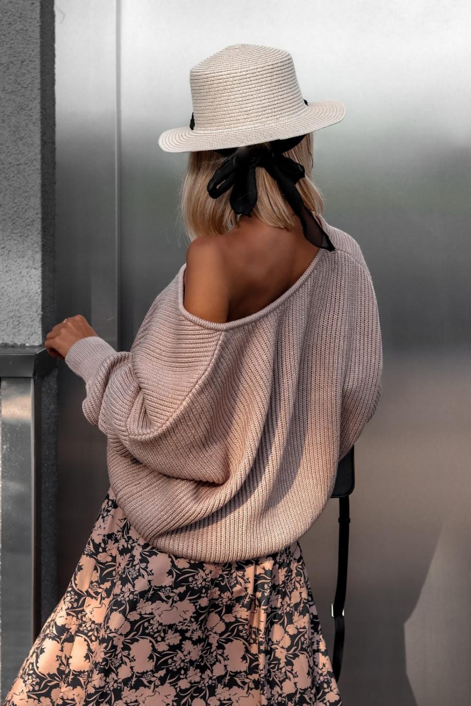 Brązowy sweter oversize V-Neck Mia 4