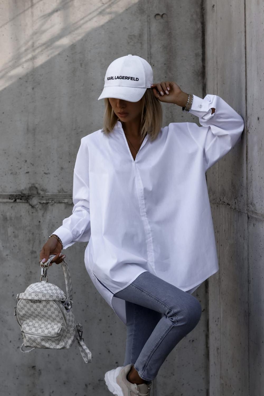 Biała rozpinana elegancka koszula oversize Emma 2