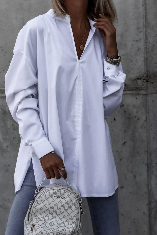 Biała rozpinana elegancka koszula oversize Emma 3