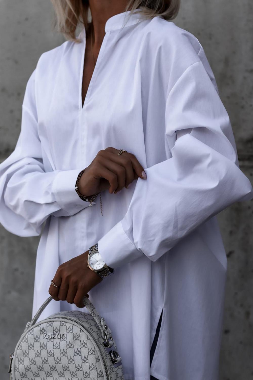 Biała rozpinana elegancka koszula oversize Emma 1