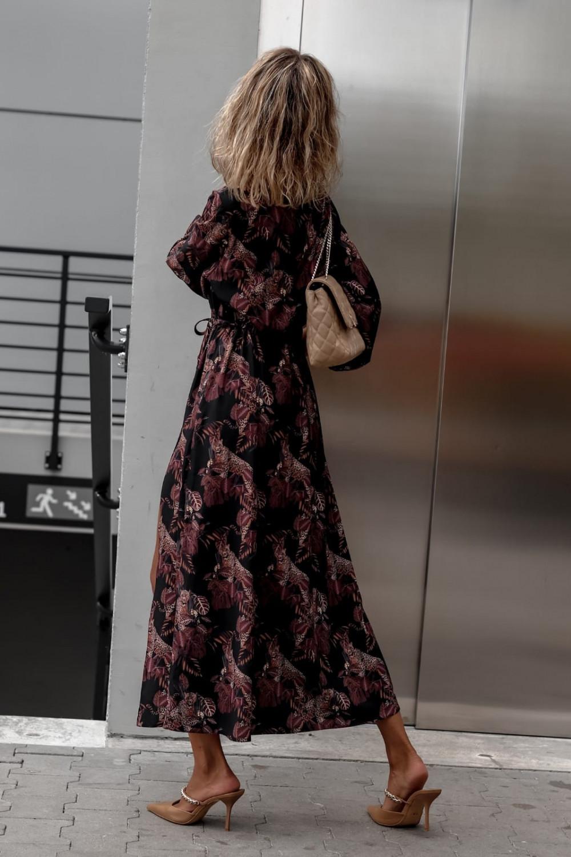 Czarna sukienka przekładana z bufiastymi rękawami we wzory Sophia 4