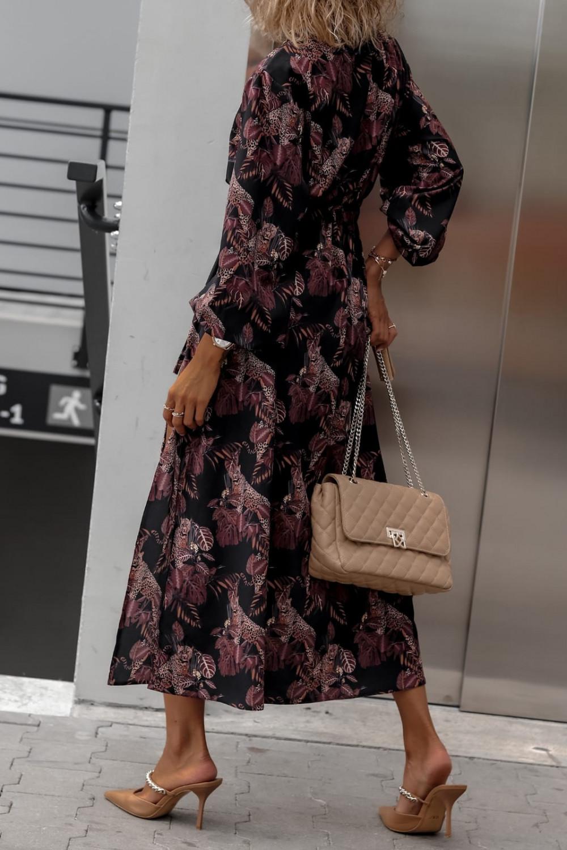 Czarna sukienka przekładana z bufiastymi rękawami we wzory Sophia 5