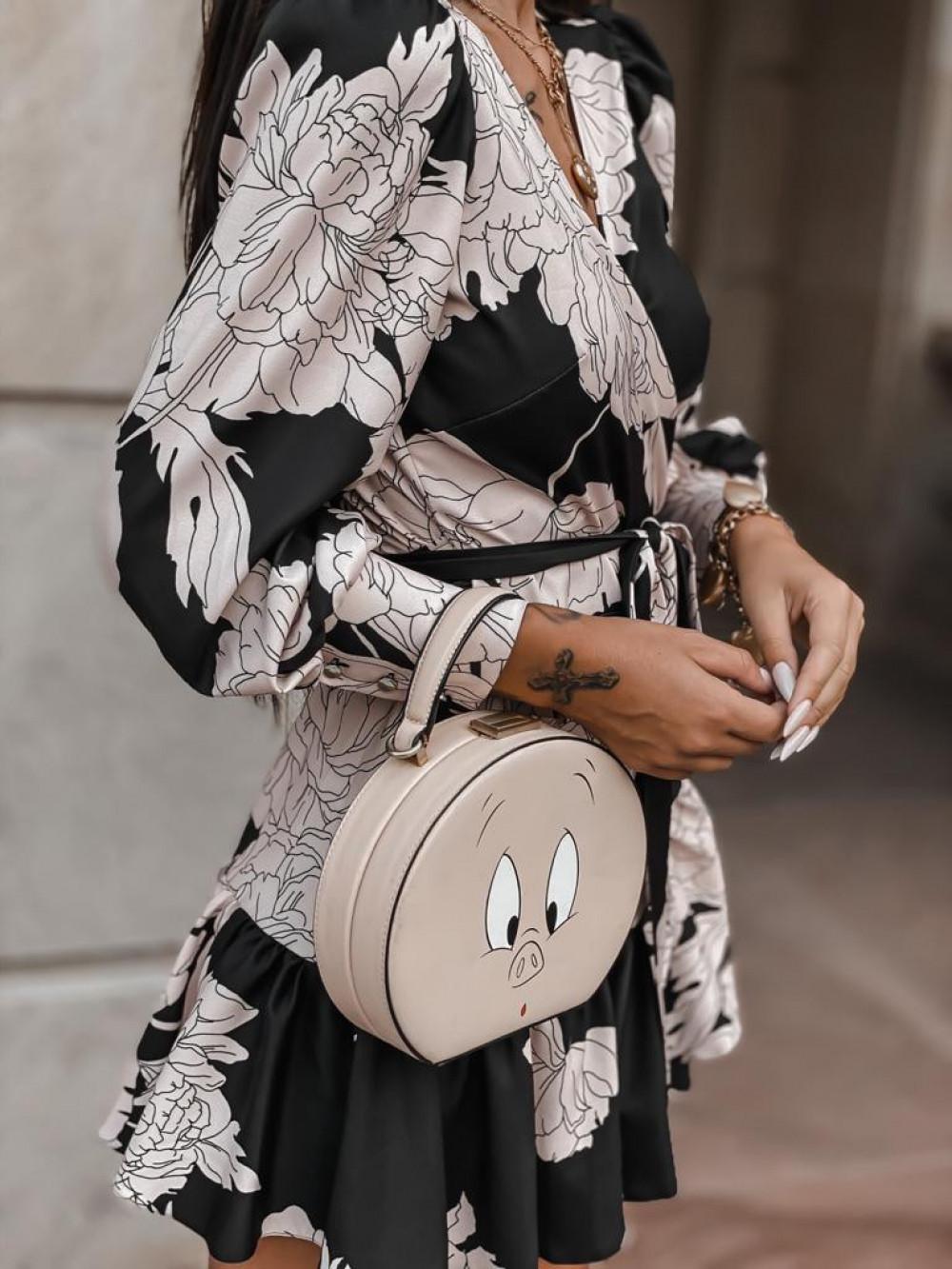 Czarno-beżowa sukienka w kwiaty Flores 3