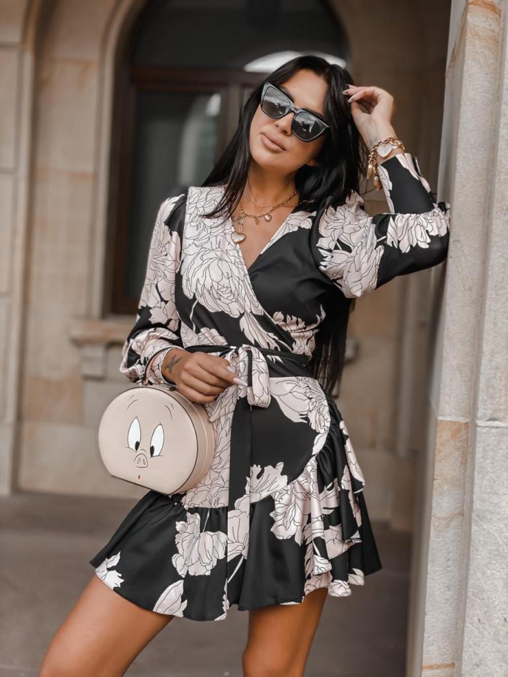 Czarno-beżowa sukienka w kwiaty Flores 2