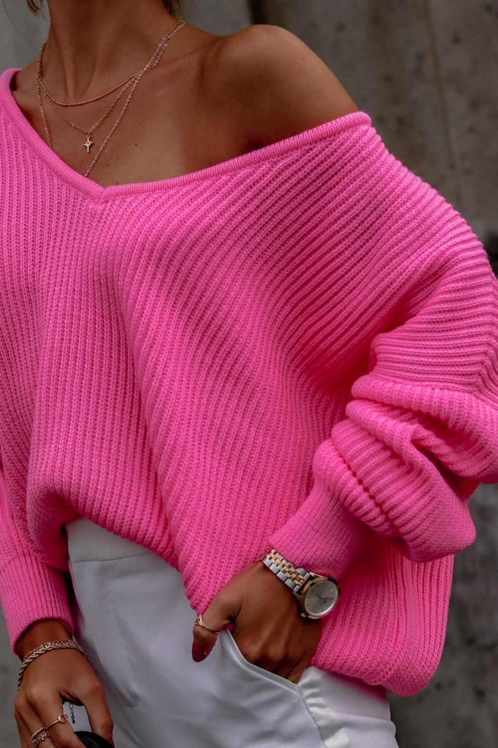 Różowy sweter oversize V-Neck Mia 2