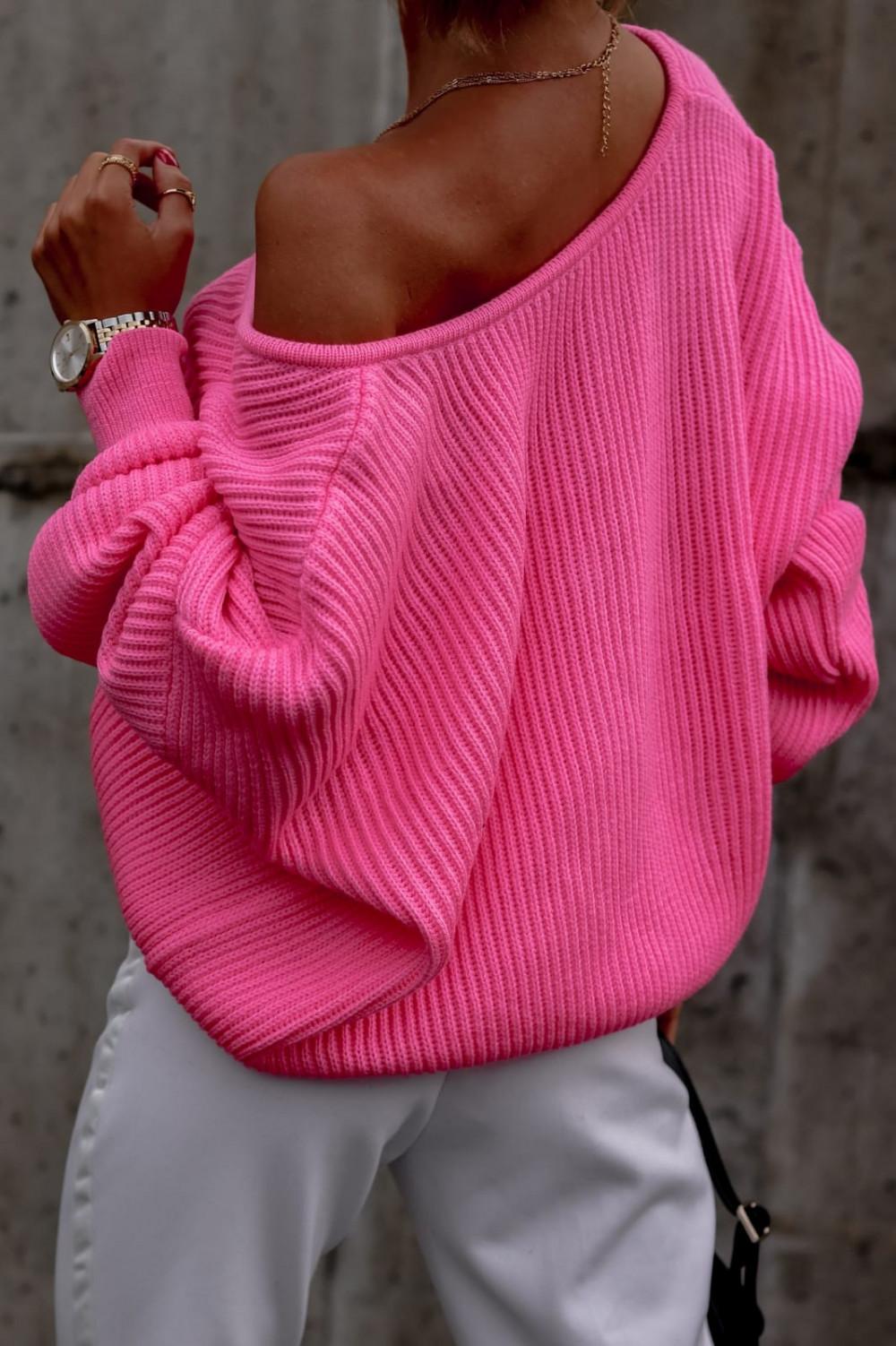Różowy sweter oversize V-Neck Mia 3