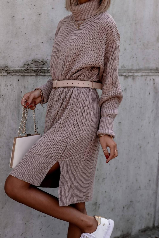 Beżowa sukienka sweterkowa z golfem Milano 2