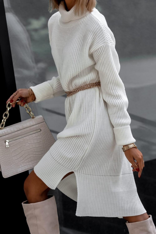Biała sukienka sweterkowa z golfem Milano 4