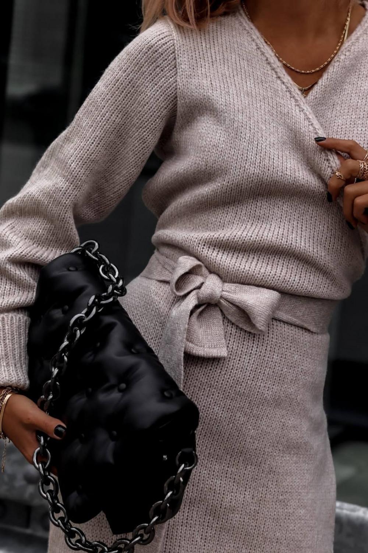 Beżowa przekładana sukienka sweterek V-Neck Mila 3