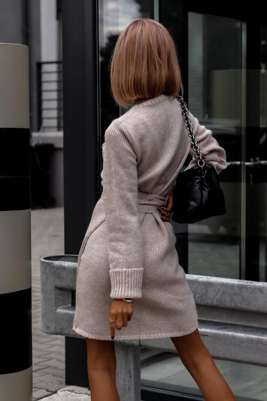 Beżowa przekładana sukienka sweterek V-Neck Mila 4
