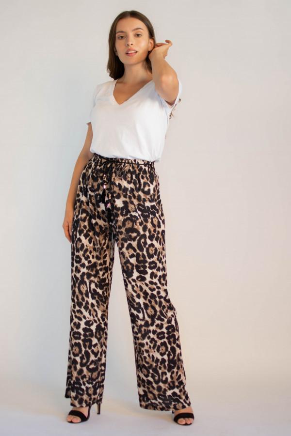Eleganckie damskie spodnie panterka z wiązaniem Ayes