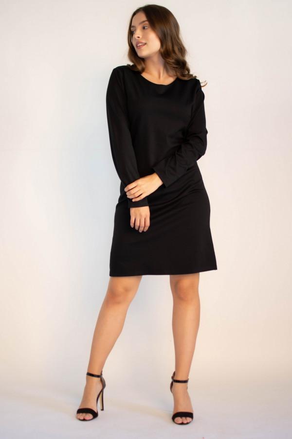 Klasyczna czarna sukienka O-Neck z długim rękawem Vera