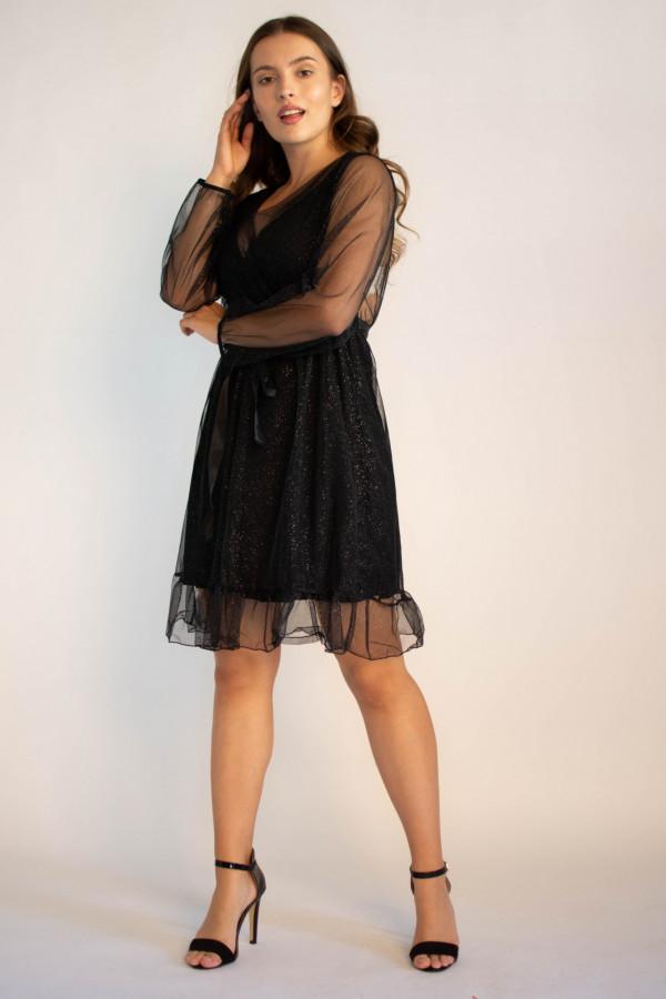 Sukienka czarna imprezowa z tiulem Sarah