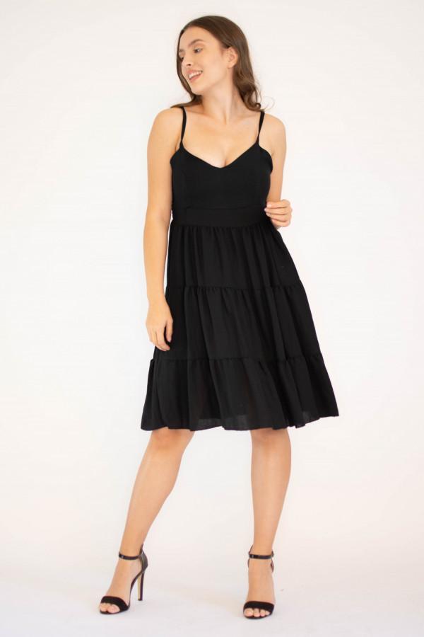 Sukienka czarna z falbankami Beth