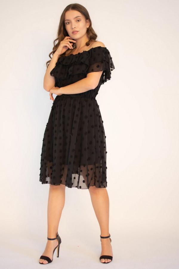 Sukienka hiszpanka z tiulem i kropkami Amelia
