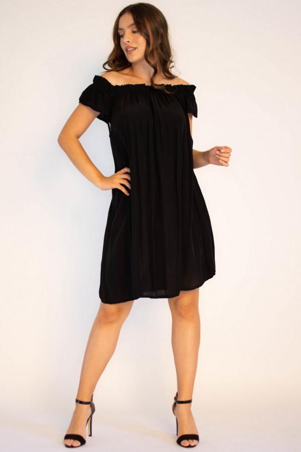 Sukienka klasyczna czarna midi z odkrytymi rękawami Camille