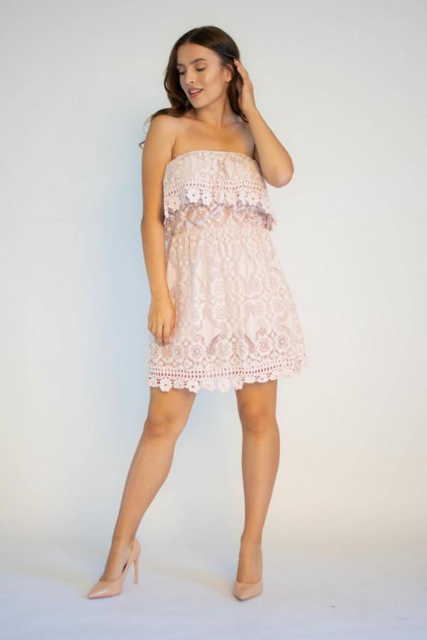 Sukienka koronkowa hiszpanka różowa Kathes