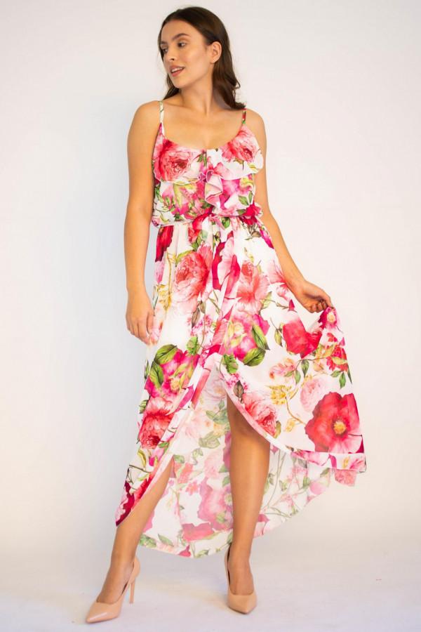 Sukienka maxi przekładana z falbanką kwiatowa Dorothy