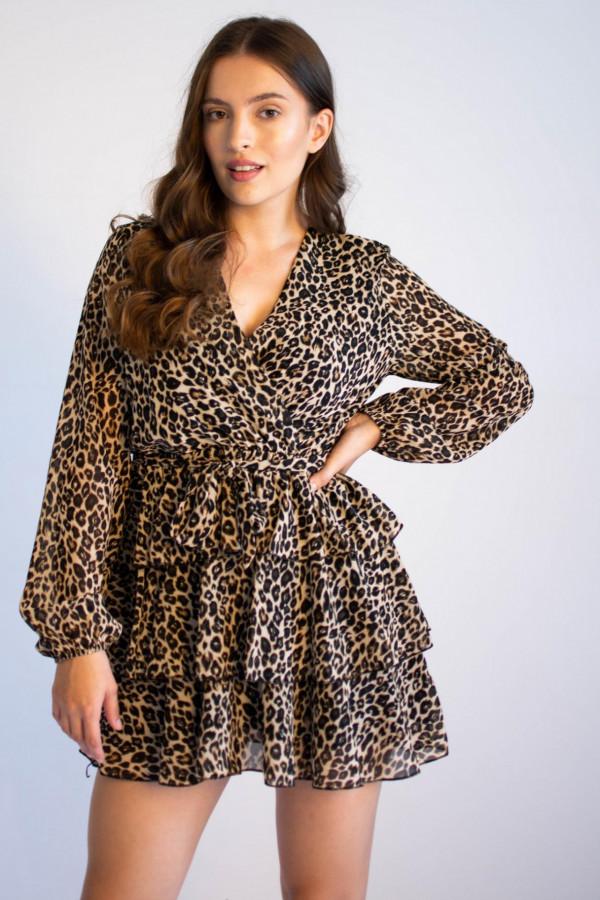 Sukienka rozkloszowana V-Neck z falbankami panterka Silvia