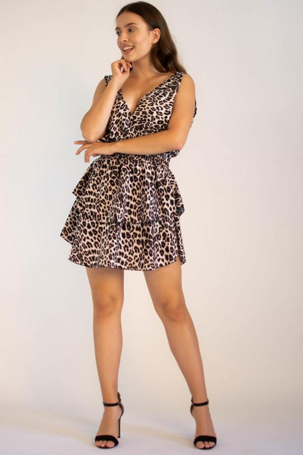 Sukienka rozkloszowana z falbankami panterka Soyla