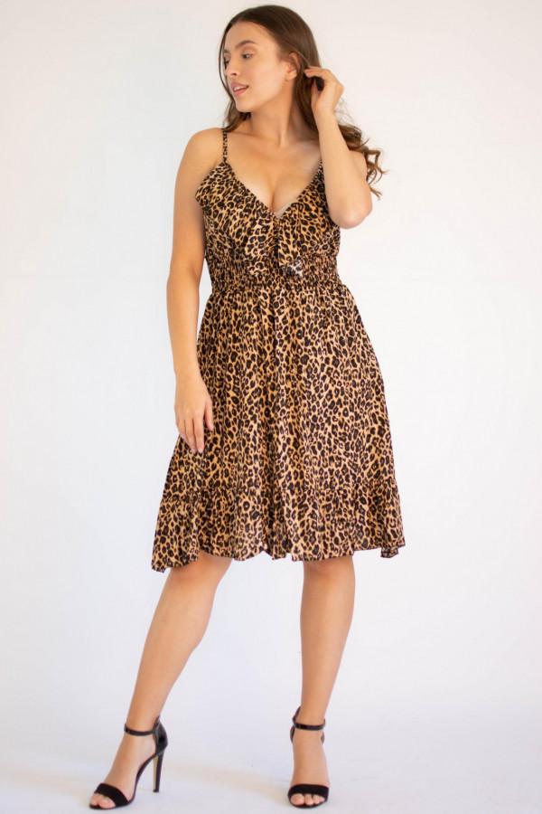 Sukienka seksowana z falbanką panterka Molly