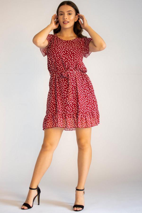 Sukienka z falbankami w kropki Emous