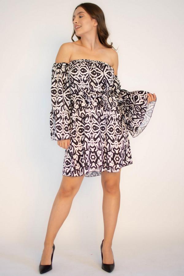 Sukienka z odkrytymi rękawami we wzorami Frances