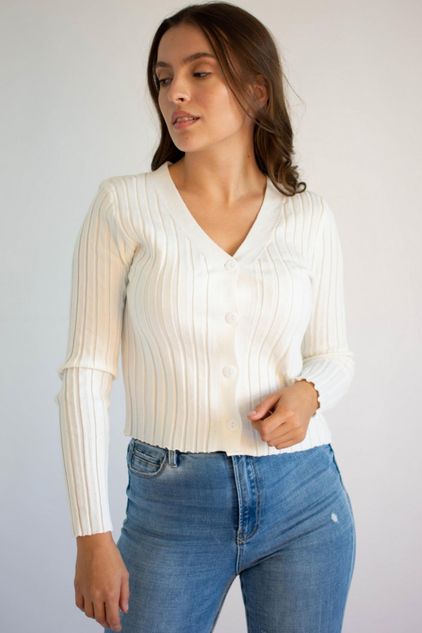 Sweter damski klasyczny z guzikami rozpinany Lauren